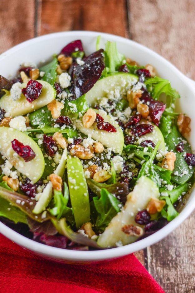 Easy Dinner Salad Ideas for Two - Apple Walnut Cranberry Salad - Quick, Fast and Simple Recipes to Make for Two People - Freeze and Make Ahead Dinner Recipe Tips for Best Weeknight Dinners - Chicken, Fish, Vegetable, No Bake and Vegetarian Options - Crockpot, Microwave, Healthy, Lowfat