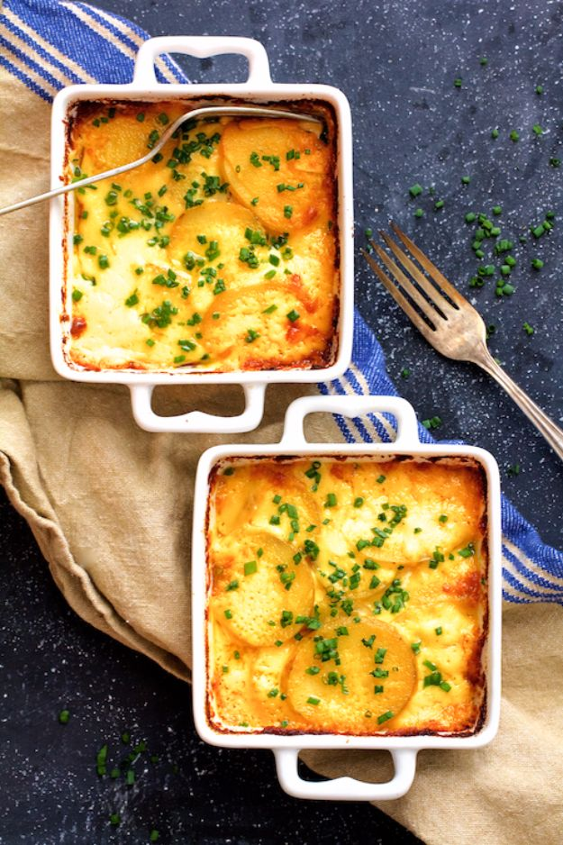 Easy Dinner Ideas for Two - Au Gratin Potatoes For Two - Quick, Fast and Simple Recipes to Make for Two People - Freeze and Make Ahead Dinner Recipe Tips for Best Weeknight Dinners - Chicken, Fish, Vegetable, No Bake and Vegetarian Options - Crockpot, Microwave, Healthy, Lowfat