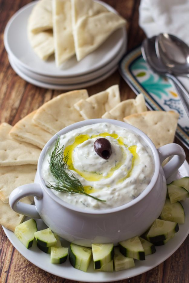 Best Dip Recipes - Authentic Greek Tzatziki - Easy Recipe Ideas for A Party Appetizer - Cold Recipe Ideas for Chips, Crockpot, Mexican Bean Dip, Desserts and Healthy Fruit Options - Italian Dressing and Ranch Dip Recipe Ideas http://diyjoy.com/best-dip-recipes