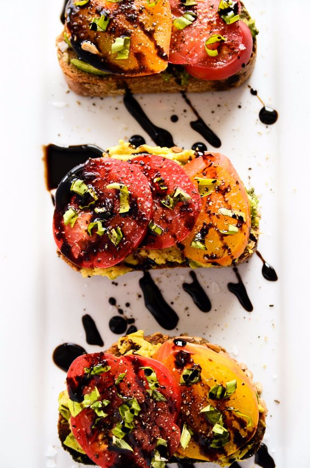 Easy Dinner Ideas for Two - Avocado + Heirloom Tomato Toast With Balsamic Drizzle - Quick, Fast and Simple Recipes to Make for Two People - Freeze and Make Ahead Dinner Recipe Tips for Best Weeknight Dinners - Chicken, Fish, Vegetable, No Bake and Vegetarian Options - Crockpot, Microwave, Healthy, Lowfat
