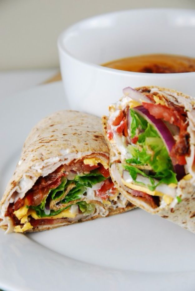 Easy Dinner Ideas for One - Bacon Ranch Turkey Wrap - Quick, Fast and Simple Recipes to Make for a Single Person - Freeze and Make Ahead Dinner Recipe Tips for Best Weeknight Dinners for Singles - Chicken, Fish, Vegetable, No Bake and Vegetarian Options - Crockpot, Microwave, Healthy, Lowfat Options