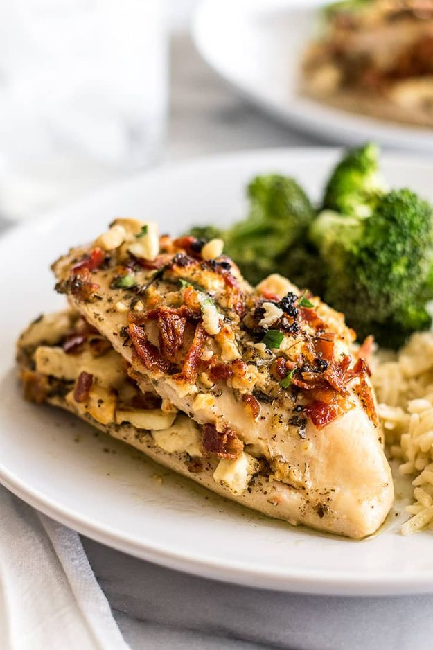 Easy Dinner Ideas for Two - Bacon and Feta Stuffed Chicken Breast - Quick, Fast and Simple Recipes to Make for Two People - Freeze and Make Ahead Dinner Recipe Tips for Best Weeknight Dinners - Chicken, Fish, Vegetable, No Bake and Vegetarian Options - Crockpot, Microwave, Healthy, Lowfat