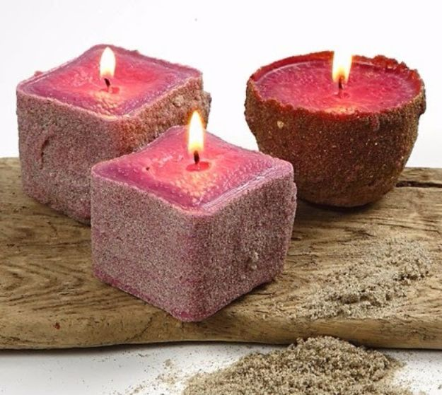 DIY Ideas for Candles - Beach Sand Candle - Cute, Cheap and Creative Ways to Decorate With Candles - Votives and Candle Holders Make Some Of Our Favorite Home Decor Ideas and Homemade Do It Yourself Gifts - Give One of These Inexpensive Ideas to Mom, Dad and Friends - Easy Dollar Store Crafts With Candle http://diyjoy.com/diy-ideas-candles