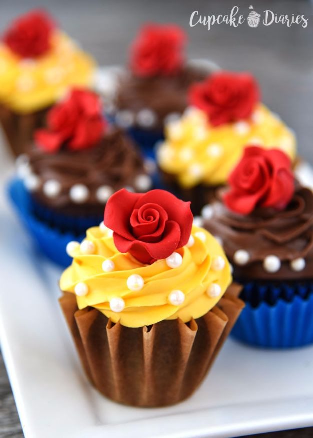 Cool Cupcake Decorating Ideas - Beauty And The Beast Cupcakes - Easy Ways To Decorate Cute, Adorable Cupcakes - Quick Recipes and Simple Decorating Tips With Icing, Candy, Chocolate, Buttercream Frosting and Fruit kids birthday party ideas cake