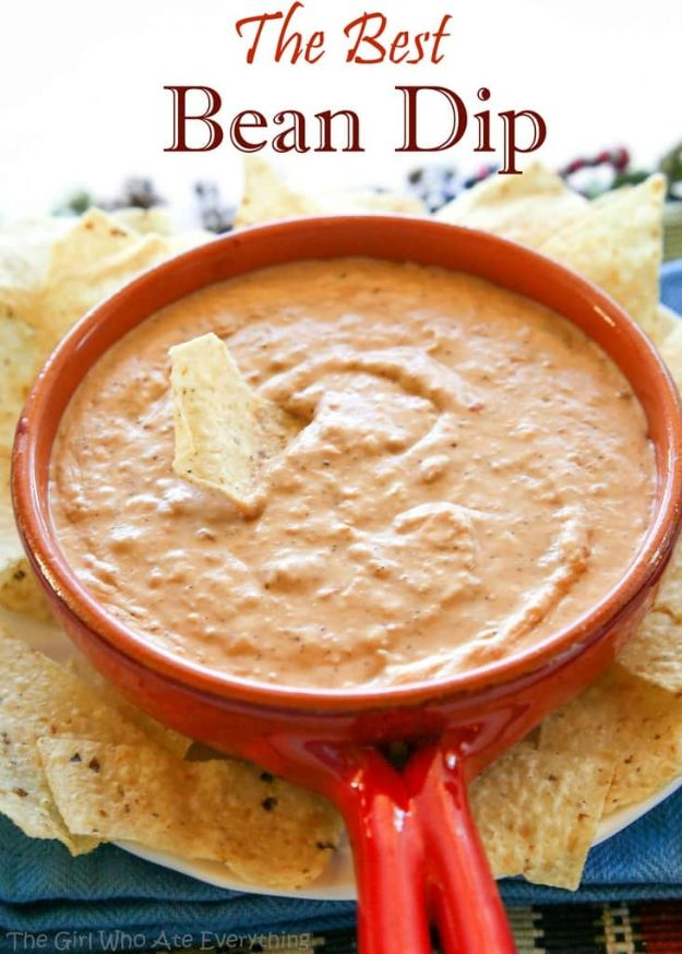 Best Dip Recipes - Best Bean Dip - Easy Recipe Ideas for A Party Appetizer - Cold Recipe Ideas for Chips, Crockpot, Mexican Bean Dip, Desserts and Healthy Fruit Options - Italian Dressing and Ranch Dip Recipe Ideas http://diyjoy.com/best-dip-recipes