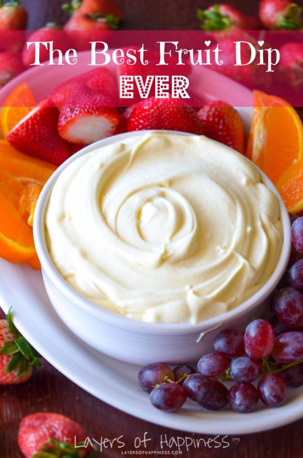 Best Dip Recipes - Best Fruit Dip - Easy Recipe Ideas for A Party Appetizer - Cold Recipe Ideas for Chips, Crockpot, Mexican Bean Dip, Desserts and Healthy Fruit Options - Italian Dressing and Ranch Dip Recipe Ideas http://diyjoy.com/best-dip-recipes