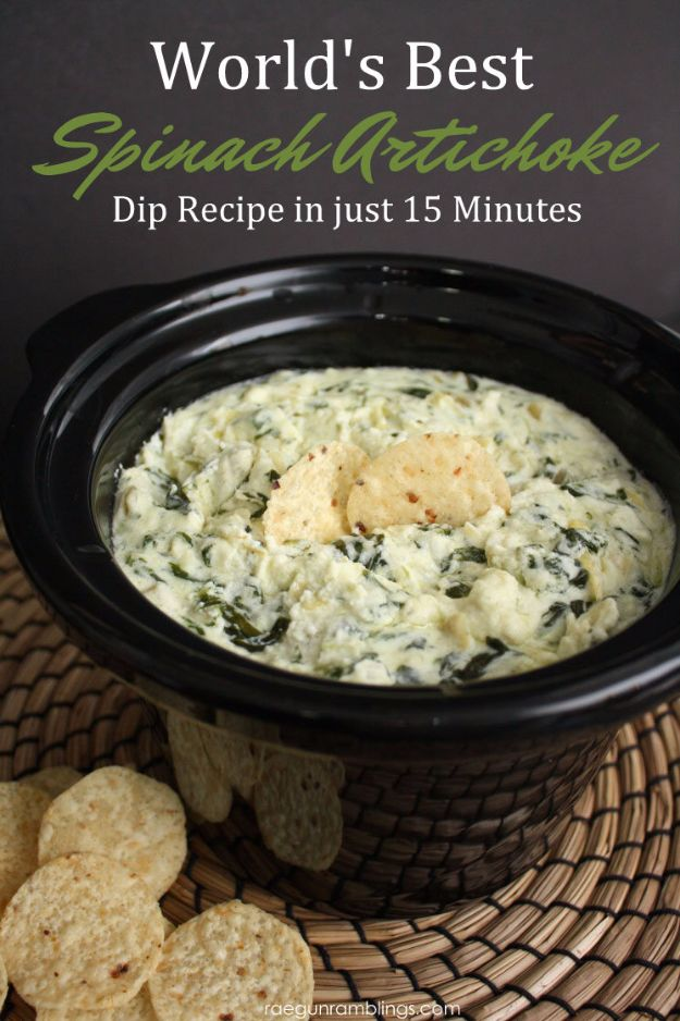 Best Dip Recipes - Best Spinach Artichoke Dip - Easy Recipe Ideas for A Party Appetizer - Cold Recipe Ideas for Chips, Crockpot, Mexican Bean Dip, Desserts and Healthy Fruit Options - Italian Dressing and Ranch Dip Recipe Ideas http://diyjoy.com/best-dip-recipes