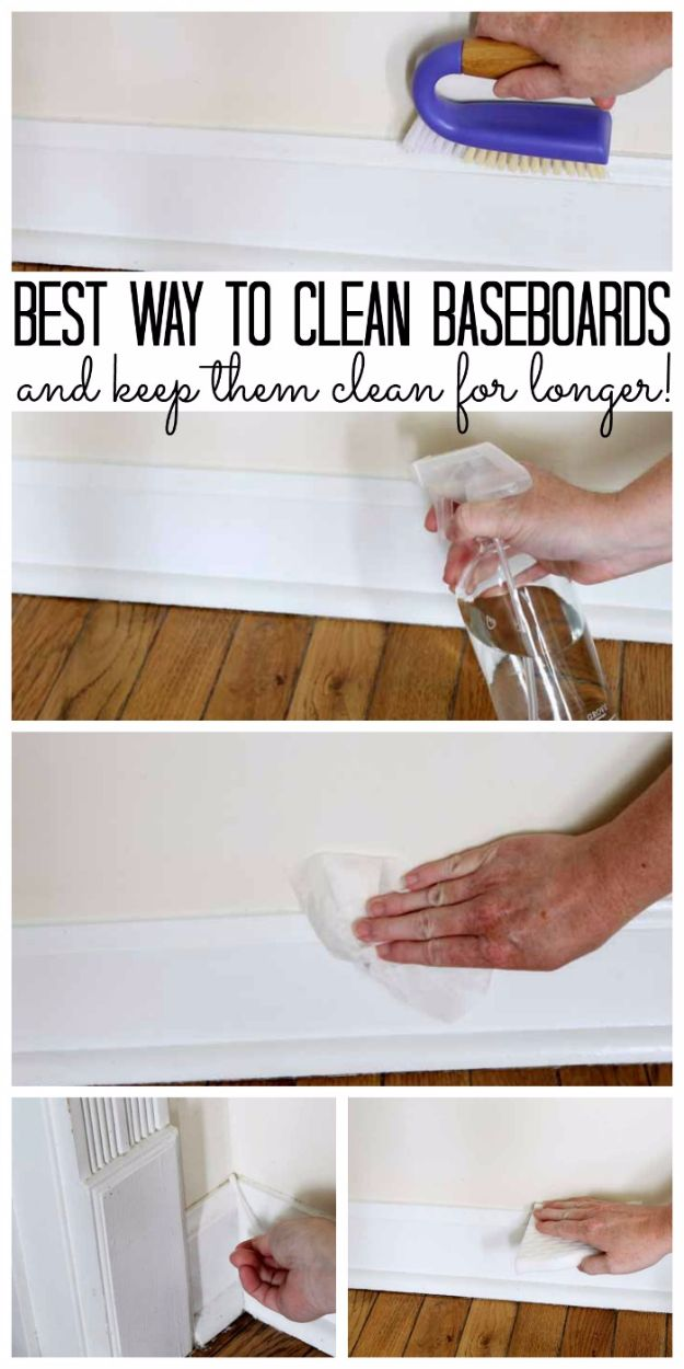 Cleaning Tips and Tricks - Best Way To Clean Baseboards - Best Cleaning Hacks, Recipes and Tutorials - Daily Ways to Clean For Kitchen, For Couches, Bathroom, Bedroom, Laundry, Floors, Furniture, Windows, Cleaners and More for Cleaning Your Home- Quick Ideas for Lazy People - Cool Cleaning Hack Tutorial - DIY Projects and Crafts by DIY JOY http://diyjoy.com/diy-cleaning-tips-tricks