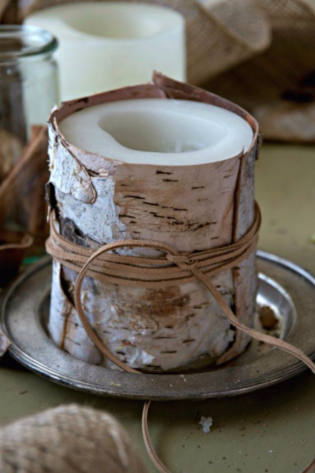 Best Crafts for Fall Decorating - Birch Bark Decorated Candle - DIY Home Decor, Mason Jar Ideas, Dollar Store Crafts, Rustic Pumpkin Ideas, Wreaths, Candles and Wall Art, Centerpieces, Wedding Decorations, Homemade Gifts, Craft Projects with Leaves, Flowers and Burlap, Painted Art, Candles and Luminaries for Cool Home Decor - Quick and Easy Projects With Step by Step Tutorials and Instructions http://diyjoy.com/best-fall-decorating-ideas