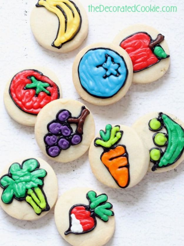 Cool Cookie Decorating Ideas - Bite Sized Fruit And Veggie Cookies - Easy Ways To Decorate Cute, Adorable Cookies - Quick Recipes and Simple Decorating Tips With Icing, Candy, Chocolate, Buttercream Frosting and Fruit - Best Party Trays and Cookie Arrangements http://diyjoy.com/cookie-decorating-ideas
