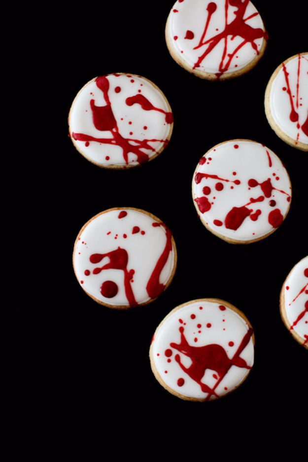 Cute Halloween Cookies - Blood Spatter Cookies - Easy Recipes and Cookie Tutorials for Making Quick Halloween Treats - Spooky DIY Decorated Ghosts, Pumpkins, Bats, No Bake, Spiders and Spiderwebs, Tombstones and Healthy Options, Kids and Teens Cookies for School #halloween #halloweencookies
