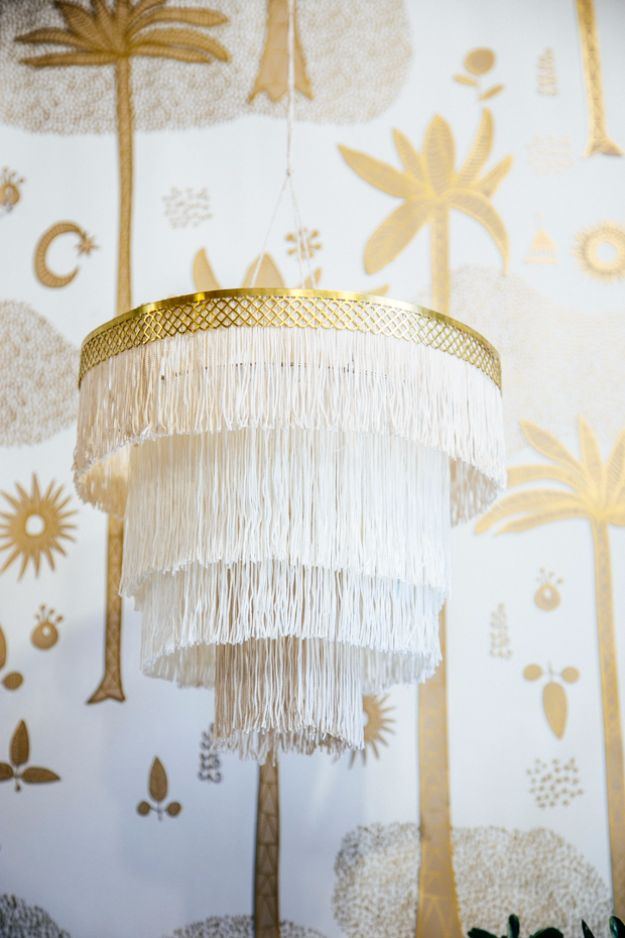 DIY Lighting Ideas and Cool DIY Light Projects for the Home - Boho Fringe Chandelier - Easy DIY Ideas for Chandeliers, lights, lamps, awesome pendants and creative hanging fixtures, complete with tutorials with instructions. Cheap do it yourself lighting tutorials for indoor - bedroom, living room, bathroom, kitchen DIY Projects and Crafts for Women and Men http://diyjoy.com/diy-indoor-lighting-ideas