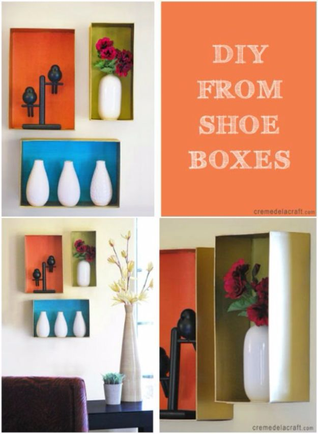 DIY Ideas With Shoe Boxes - Boxy Shelves - Shoe Box Crafts and Organizers for Storage - How To Make A Shelf, Makeup Organizer, Kids Room Decoration, Storage Ideas Projects - Cheap Home Decor DIY Ideas for Kids, Adults and Teens Rooms http://diyjoy.com/diy-ideas-shoe-boxes