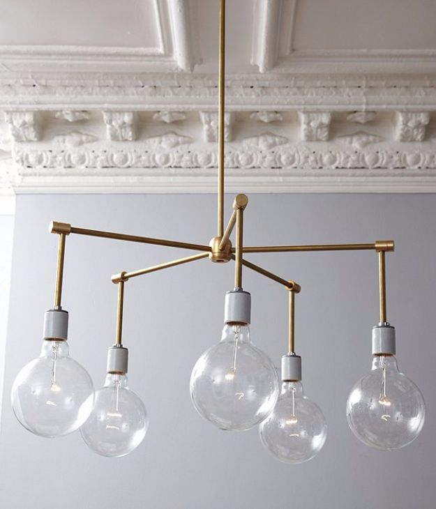 DIY Lighting Ideas and Cool DIY Light Projects for the Home - Brass Chandelier DIY - Easy DIY Ideas for Chandeliers, lights, lamps, awesome pendants and creative hanging fixtures, complete with tutorials with instructions. Cheap do it yourself lighting tutorials for indoor - bedroom, living room, bathroom, kitchen DIY Projects and Crafts for Women and Men