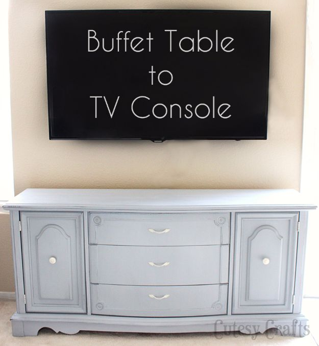 DIY Media Consoles and TV Stands - Buffet Table to TV Console - Make a Do It Yourself Entertainment Center With These Easy Step By Step Tutorials - Easy Farmhouse Decor Media Stand for Television - Free Plans and Instructions for Building and Painting Your Own DIY Furniture - IKEA Hacks for TV Stand Idea - Quick and Easy Ways to Decorate Your Home On A Budget http://diyjoy.com/diy-tv-media-consoles