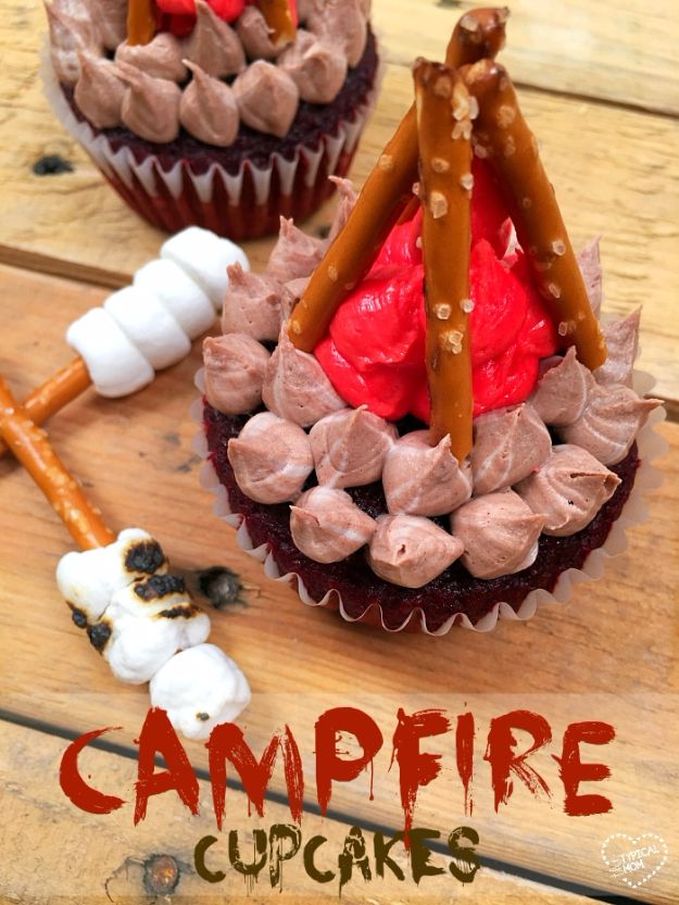 Cool Cupcake Decorating Ideas - Campfire Cupcakes - Easy Ways To Decorate Cute, Adorable Cupcakes - Quick Recipes and Simple Decorating Tips With Icing, Candy, Chocolate, Buttercream Frosting and Fruit kids birthday party ideas cake