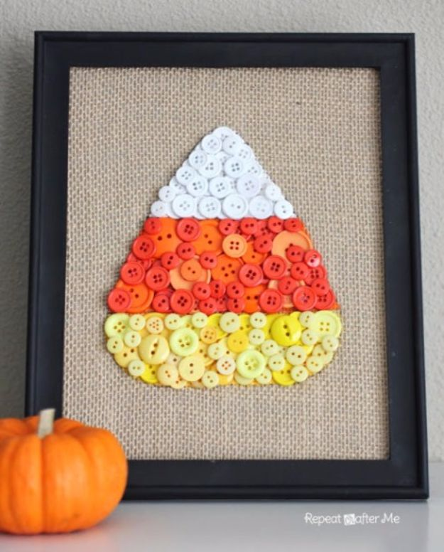Best Crafts for Fall Decorating - Candy Corn Button Art - DIY Home Decor, Mason Jar Ideas, Dollar Store Crafts, Rustic Pumpkin Ideas, Wreaths, Candles and Wall Art, Centerpieces, Wedding Decorations, Homemade Gifts, Craft Projects with Leaves, Flowers and Burlap, Painted Art, Candles and Luminaries for Cool Home Decor - Quick and Easy Projects With Step by Step Tutorials and Instructions http://diyjoy.com/best-fall-decorating-ideas