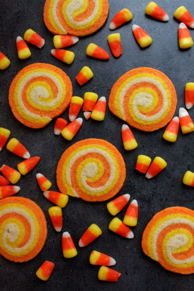 Cute Halloween Cookies - Candy Corn Swirl Cookies - Easy Recipes and Cookie Tutorials for Making Quick Halloween Treats - Spooky DIY Decorated Ghosts, Pumpkins, Bats, No Bake, Spiders and Spiderwebs, Tombstones and Healthy Options, Kids and Teens Cookies for School #halloween #halloweencookies