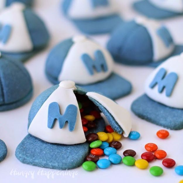Cool Cookie Decorating Ideas - Candy Filled Baseball Cap Piñata Cookies - Easy Ways To Decorate Cute, Adorable Cookies - Quick Recipes and Simple Decorating Tips With Icing, Candy, Chocolate, Buttercream Frosting and Fruit - Best Party Trays and Cookie Arrangements http://diyjoy.com/cookie-decorating-ideas