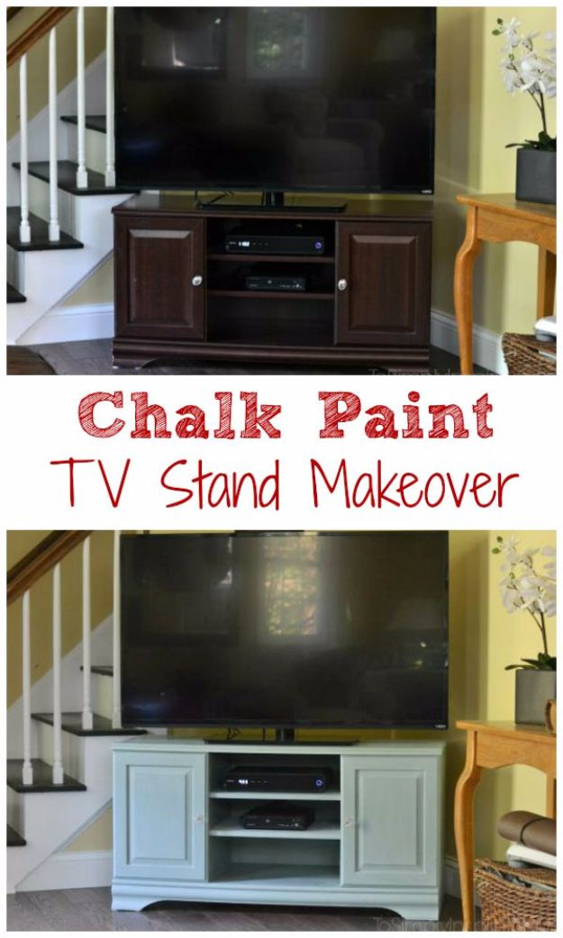 DIY Media Consoles and TV Stands - Chalk Paint TV Stand Makeover - Make a Do It Yourself Entertainment Center With These Easy Step By Step Tutorials - Easy Farmhouse Decor Media Stand for Television - Free Plans and Instructions for Building and Painting Your Own DIY Furniture - IKEA Hacks for TV Stand Idea - Quick and Easy Ways to Decorate Your Home On A Budget http://diyjoy.com/diy-tv-media-consoles