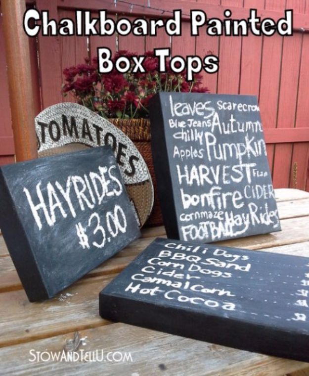DIY Ideas With Shoe Boxes - Chalkboard Painted Box Tops - Shoe Box Crafts and Organizers for Storage - How To Make A Shelf, Makeup Organizer, Kids Room Decoration, Storage Ideas Projects - Cheap Home Decor DIY Ideas for Kids, Adults and Teens Rooms http://diyjoy.com/diy-ideas-shoe-boxes