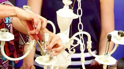 She Cuts The Wires On An Old Chandelier And Transforms It To Awesome Outdoor Lighting! | DIY Joy Projects and Crafts Ideas