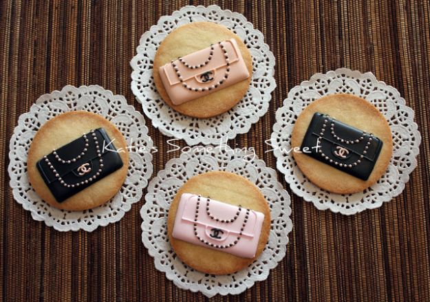 Cool Cookie Decorating Ideas - Chanel Classic Jumbo Cookies - Easy Ways To Decorate Cute, Adorable Cookies - Quick Recipes and Simple Decorating Tips With Icing, Candy, Chocolate, Buttercream Frosting and Fruit - Best Party Trays and Cookie Arrangements http://diyjoy.com/cookie-decorating-ideas