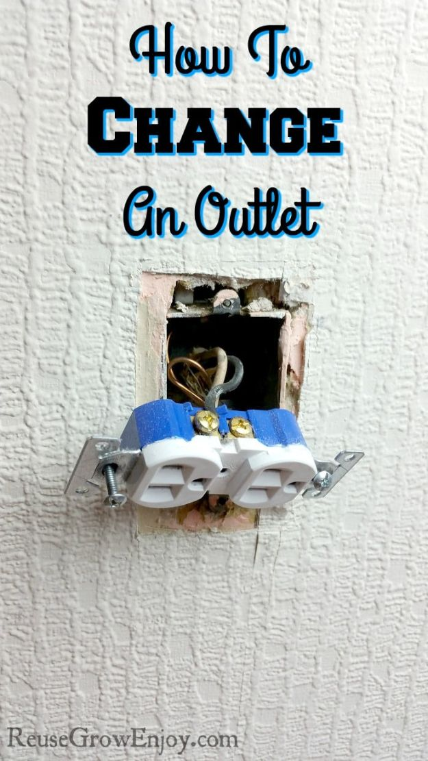 Easy Home Repair Hacks - Change An Outlet - Quick Ways To Fix Your Home With Cheap and Fast DIY Projects - Step by step Tutorials, Good Ideas for Renovating, Simple Tips and Tricks for Home Improvement on A Budget - Save Money and Time on Small Bathrooms, Kitchen, Bathroom, House and Household http://diyjoy.com/best-home-repair-hacks
