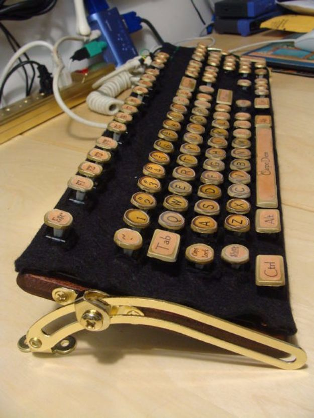 DIY Ideas for Your Computer - Cheap and Easy to Make Steampunk Keyboard - Cool Desk, Home Office, Bulletin Boards and Tech Projects for Kids, Awesome Tips and Tricks for Your Laptop and Desktop, Best Shortcuts and Neat Ways To Make Your Computer Even Better With Productivity Tips http://diyjoy.com/diy-ideas-computer