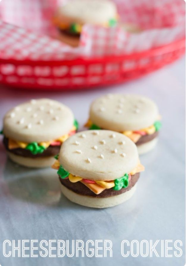 Cool Cookie Decorating Ideas - Cheeseburger Cookies - Easy Ways To Decorate Cute, Adorable Cookies - Quick Recipes and Simple Decorating Tips With Icing, Candy, Chocolate, Buttercream Frosting and Fruit - Best Party Trays and Cookie Arrangements http://diyjoy.com/cookie-decorating-ideas