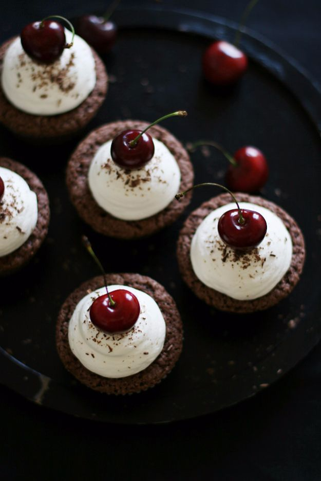Cool Cupcake Decorating Ideas - Chocolate Cherry Cupcakes - Easy Ways To Decorate Cute, Adorable Cupcakes - Quick Recipes and Simple Decorating Tips With Icing, Candy, Chocolate, Buttercream Frosting and Fruit - Best Party and Birthday Party Ideas for Kids and Adults http://diyjoy.com/cupcake-decorating-ideas