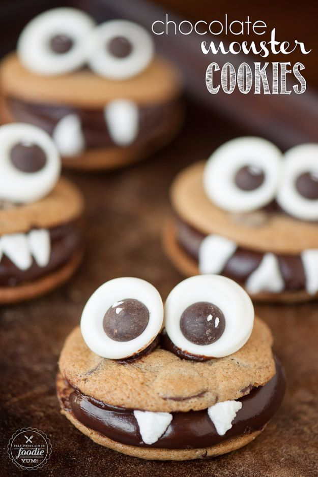 Cute Halloween Cookies - Chocolate Monster Cookies - Easy Recipes and Cookie Tutorials for Making Quick Halloween Treats - Spooky DIY Decorated Ghosts, Pumpkins, Bats, No Bake, Spiders and Spiderwebs, Tombstones and Healthy Options, Kids and Teens Cookies for School http://diyjoy.com/halloween-cookies-ideas