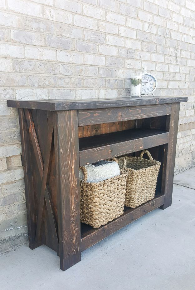 DIY Media Consoles and TV Stands - Chunky X Media Console - Make a Do It Yourself Entertainment Center With These Easy Step By Step Tutorials - Easy Farmhouse Decor Media Stand for Television - Free Plans and Instructions for Building and Painting Your Own DIY Furniture - IKEA Hacks for TV Stand Idea - Quick and Easy Ways to Decorate Your Home On A Budget http://diyjoy.com/diy-tv-media-consoles