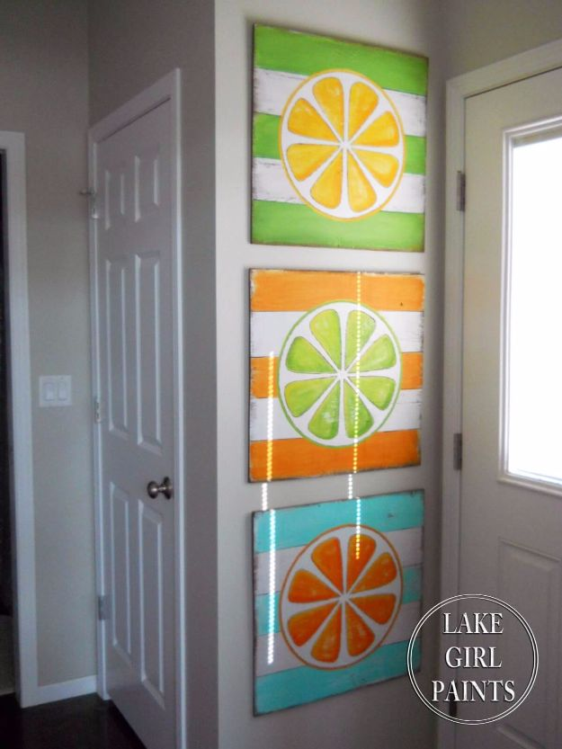 Rustic Wall Art Ideas - Citrus Stripes Wall Art - DIY Farmhouse Wall Art and Vintage Decor for Walls - Country Crafts and Rustic Home Decor Made Easy With Instructions and Tutorials - String Art, Repurposed Pallet Projects, Mason Jar Crafts, Vintage Signs, Word Art and Letters, Monograms and Sewing Projects http://diyjoy.com/rustic-wall-art-ideas
