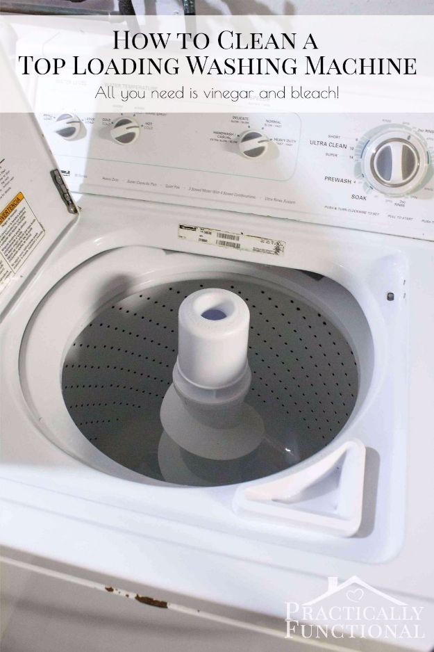Cleaning Tips and Tricks - Clean A Top Loading Washing Machine With Vinegar And Bleach - Best Cleaning Hacks, Recipes and Tutorials - Daily Ways to Clean For Kitchen, For Couches, Bathroom, Bedroom, Laundry, Floors, Furniture, Windows, Cleaners and More for Cleaning Your Home- Quick Ideas for Lazy People - Cool Cleaning Hack Tutorial