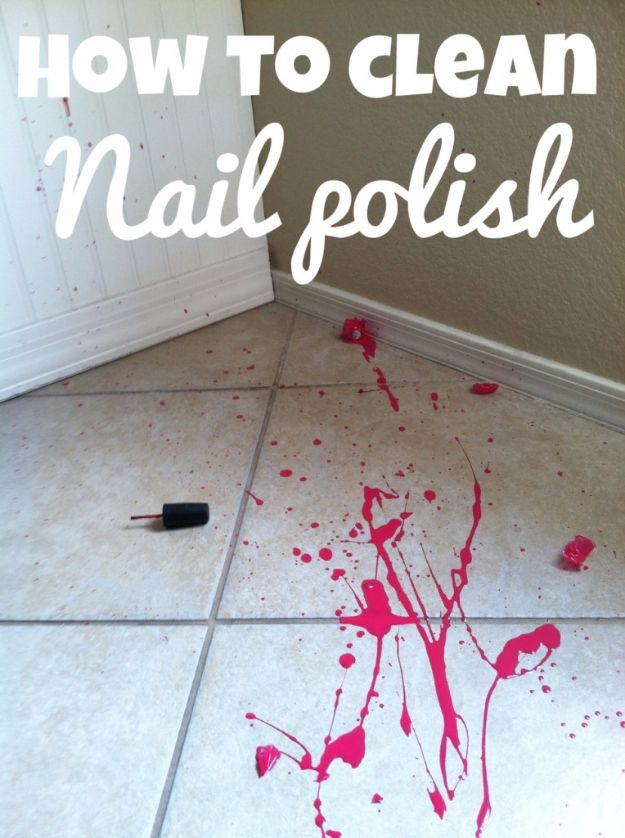 Cleaning Tips and Tricks - Clean Up Nail Polish Spill - Best Cleaning Hacks, Recipes and Tutorials - Daily Ways to Clean For Kitchen, For Couches, Bathroom, Bedroom, Laundry, Floors, Furniture, Windows, Cleaners and More for Cleaning Your Home- Quick Ideas for Lazy People - Cool Cleaning Hack Tutorial - DIY Projects and Crafts by DIY JOY http://diyjoy.com/diy-cleaning-tips-tricks
