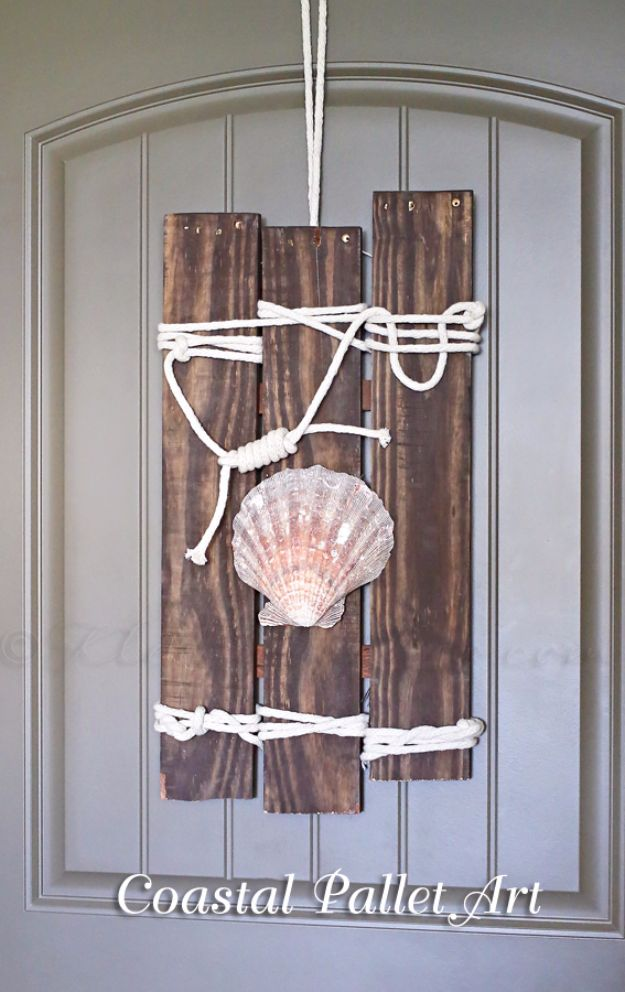 Rustic Wall Art Ideas - Coastal Pallet Art - DIY Farmhouse Wall Art and Vintage Decor for Walls - Country Crafts and Rustic Home Decor Made Easy With Instructions and Tutorials - String Art, Repurposed Pallet Projects, Mason Jar Crafts, Vintage Signs, Word Art and Letters, Monograms and Sewing Projects http://diyjoy.com/rustic-wall-art-ideas