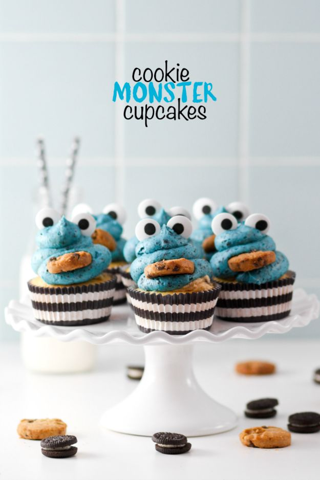 Cool Cupcake Decorating Ideas - Cookie Monster Cupcakes - Easy Ways To Decorate Cute, Adorable Cupcakes - Quick Recipes and Simple Decorating Tips With Icing, Candy, Chocolate, Buttercream Frosting and Fruit kids birthday party ideas cake