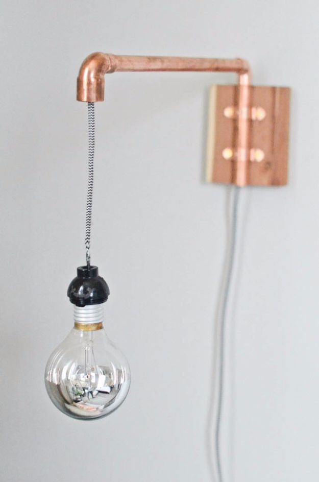 DIY Lighting Ideas and Cool DIY Light Projects for the Home - Copper Pipe Wall Sconce - Easy DIY Ideas for Chandeliers, lights, lamps, awesome pendants and creative hanging fixtures, complete with tutorials with instructions. Cheap do it yourself lighting tutorials for indoor - bedroom, living room, bathroom, kitchen DIY Projects and Crafts for Women and Men