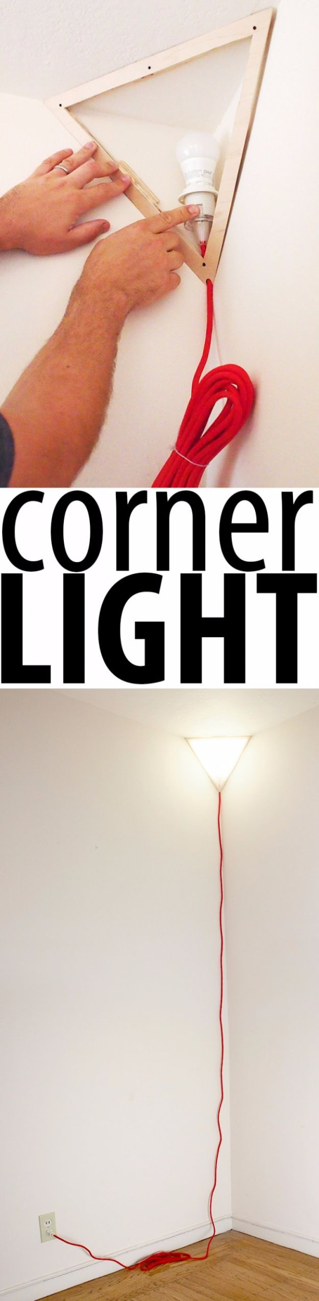 DIY Lighting Ideas and Cool DIY Light Projects for the Home - Corner Light - Easy DIY Ideas for Chandeliers, lights, lamps, awesome pendants and creative hanging fixtures, complete with tutorials with instructions. Cheap do it yourself lighting tutorials for indoor - bedroom, living room, bathroom, kitchen DIY Projects and Crafts for Women and Men