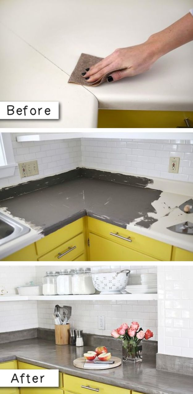 Easy Home Repair Hacks - Cover Up Laminate Countertops - Quick Ways To Fix Your Home With Cheap and Fast DIY Projects - Step by step Tutorials, Good Ideas for Renovating, Simple Tips and Tricks for Home Improvement on A Budget #diy #homeimprovement