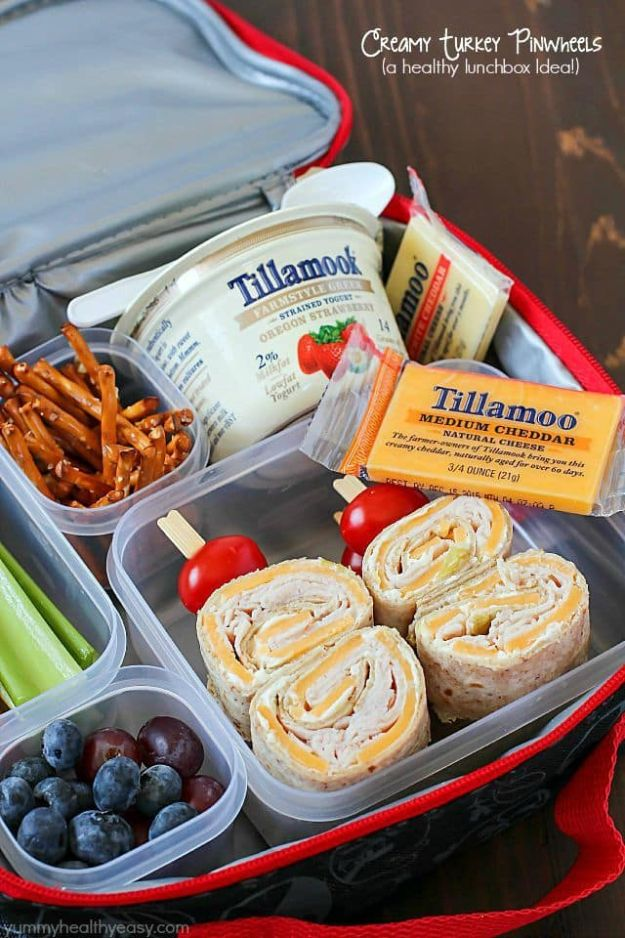 Back to School Lunch Ideas - Creamy Turkey Pinwheels - Quick Snacks, Lunches and Homemade Lunchables - Bento Box Style Lunch for People in A Hurry - Fast Lunch Recipes to Pack Ahead - Healthy Ideas for Kids, Teens and Adults http://diyjoy.com/back-to-school-lunches