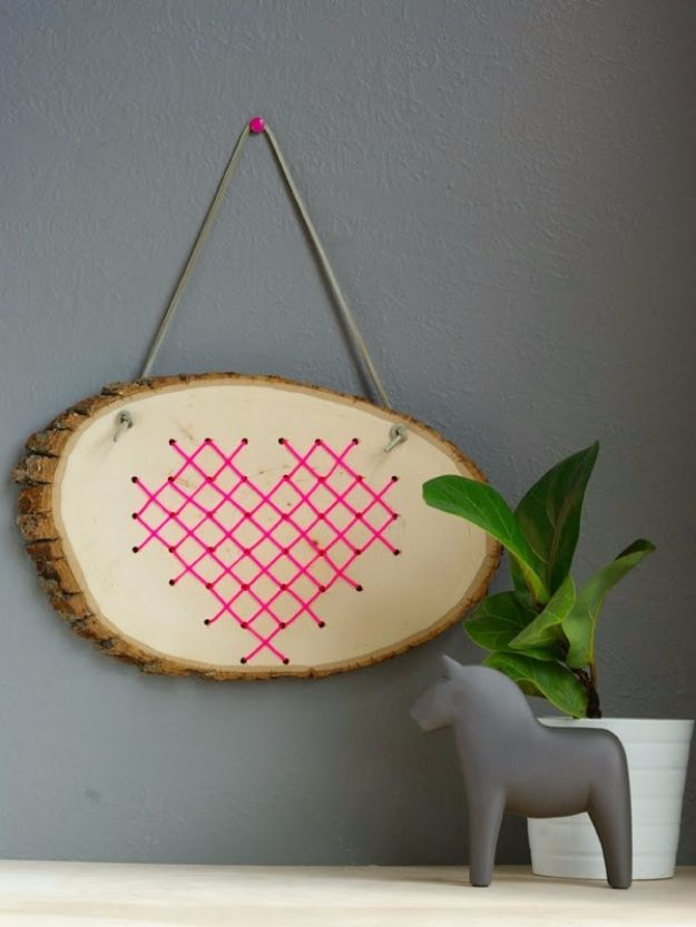 Rustic Wall Art Ideas - Cross Stitch Heart In Wood - DIY Farmhouse Wall Art and Vintage Decor for Walls - Country Crafts and Rustic Home Decor Made Easy With Instructions and Tutorials - String Art, Repurposed Pallet Projects, Mason Jar Crafts, Vintage Signs, Word Art and Letters, Monograms and Sewing Projects
