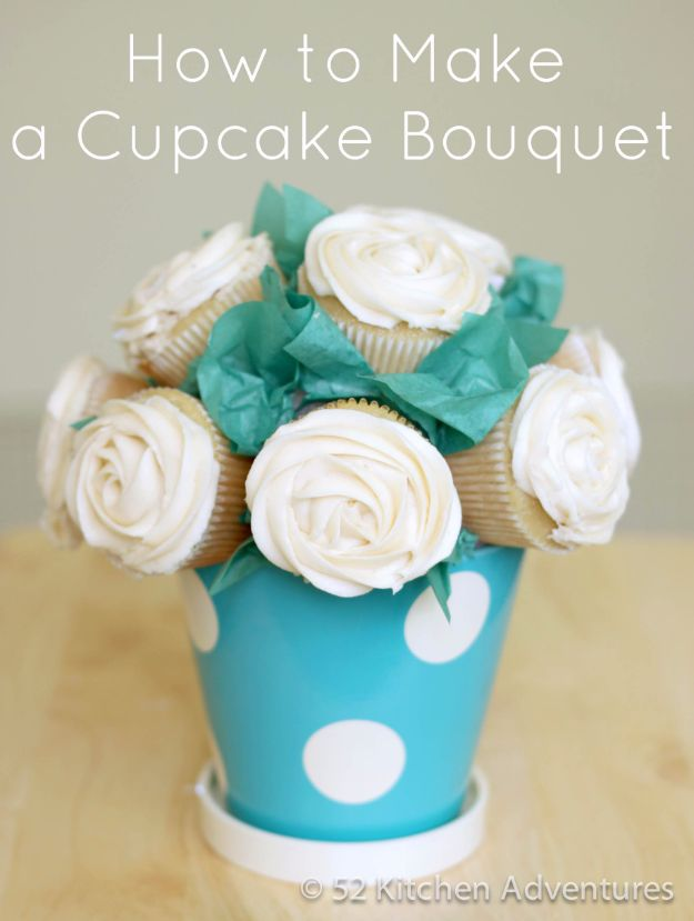 Cool Cupcake Decorating Ideas - Cupcake Bouquet - Easy Ways To Decorate Cute, Adorable Cupcakes - Quick Recipes and Simple Decorating Tips With Icing, Candy, Chocolate, Buttercream Frosting and Fruit - Best Party and Birthday Party Ideas for Kids and Adults http://diyjoy.com/cupcake-decorating-ideas