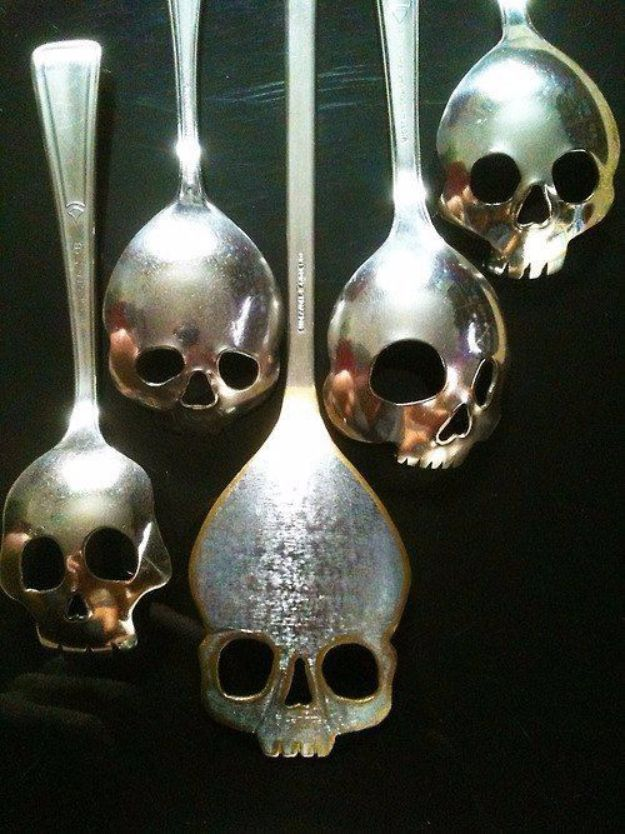 DIY Silverware Upgrades - Custom Skull Spoons - Creative Ways To Improve Boring Silver Ware and Palce Settings - Paint, Decorate and Update Your Flatware With These Creative Do IT Yourself Tutorials- Forks, Knives and Spoons all Get Dressed Up With These New Looks For Kitchen and Dining Room