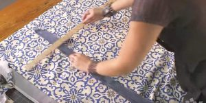 She Measures And Cuts Fabric, Attaches Ribbon And Saves Money On An Item We All Need!