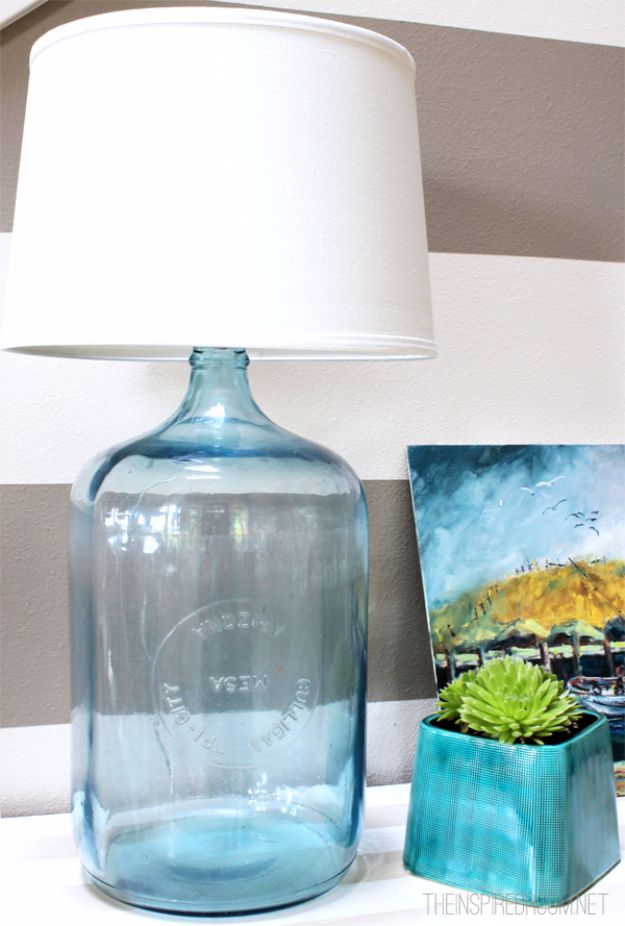 DIY Lighting Ideas and Cool DIY Light Projects for the Home - DIY Bottle Lamp - Easy DIY Ideas for Chandeliers, lights, lamps, awesome pendants and creative hanging fixtures, complete with tutorials with instructions. Cheap do it yourself lighting tutorials for indoor - bedroom, living room, bathroom, kitchen DIY Projects and Crafts for Women and Men