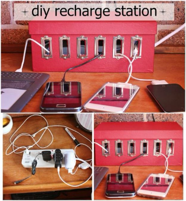 DIY Ideas With Shoe Boxes - DIY Charging Station - Shoe Box Crafts and Organizers for Storage - How To Make A Shelf, Makeup Organizer, Kids Room Decoration, Storage Ideas Projects - Cheap Home Decor DIY Ideas for Kids, Adults and Teens Rooms http://diyjoy.com/diy-ideas-shoe-boxes