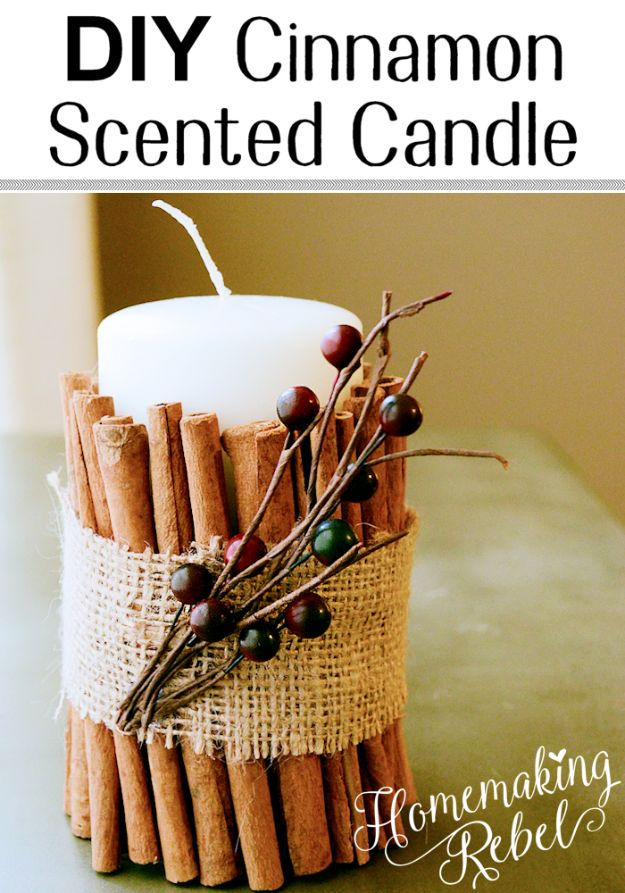 DIY Ideas for Candles - DIY Cinnamon Candle - Cute, Cheap and Creative Ways to Decorate With Candles - Votives and Candle Holders Make Some Of Our Favorite Home Decor Ideas and Homemade Do It Yourself Gifts - Give One of These Inexpensive Ideas to Mom, Dad and Friends - Easy Dollar Store Crafts With Candle http://diyjoy.com/diy-ideas-candles