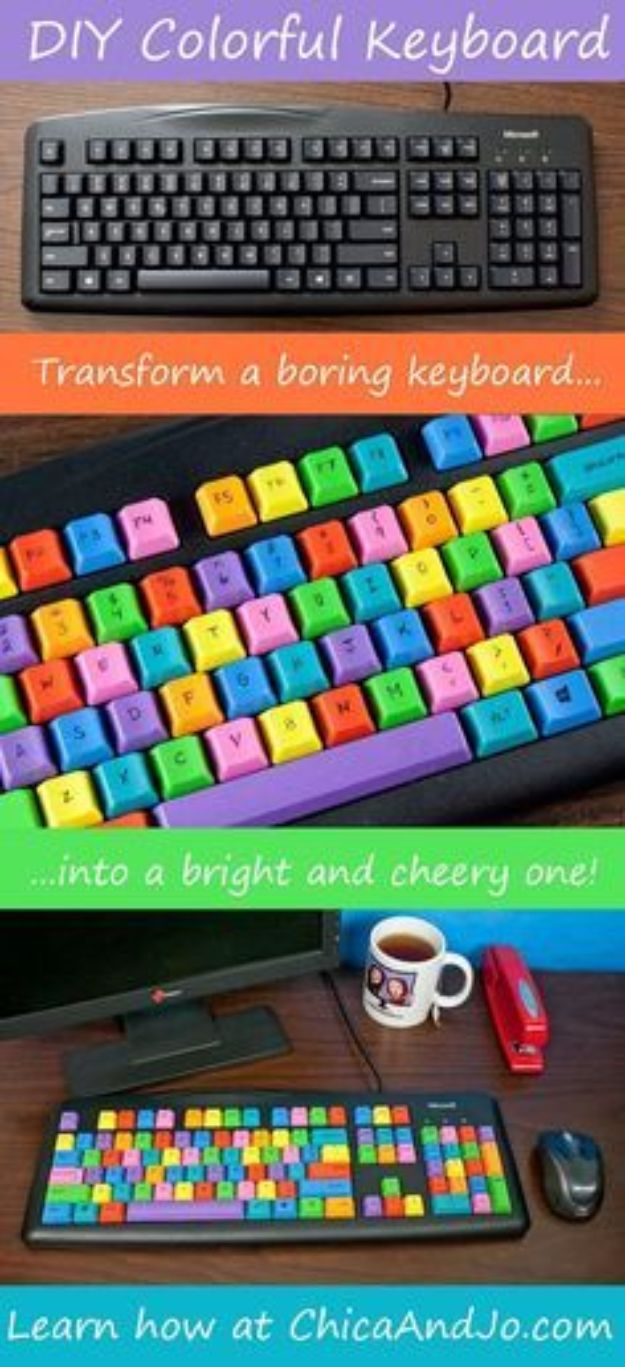 DIY Ideas for Your Computer - DIY Colorful Computer Keyboard - Cool Desk, Home Office, Bulletin Boards and Tech Projects for Kids, Awesome Tips and Tricks for Your Laptop and Desktop, Best Shortcuts and Neat Ways To Make Your Computer Even Better With Productivity Tips http://diyjoy.com/diy-ideas-computer